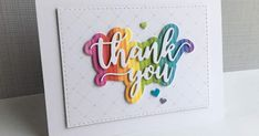 I'm in Haven: Rainbow Background - used the Simon Says Stamp Thank You Script die to make a rainbow colored thank you card. Handmade Birthday Cards, Greeting Cards Handmade, Handmade Thank You Cards, Penny Black, Card Making Inspiration, Making Ideas, Thank U Cards, Rainbow Background, Background Ideas
