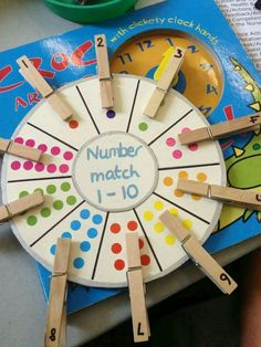 [Image Only] Number Matching Wheel using clothespins and stickers (pinned by Super Simple Songs) for matematika Preschool Learning Activities, Kindergarten Math, Educational Activities, Classroom Activities, Teaching Math, Preschool Activities, Counting Activities, Nursery Activities Eyfs, Young Toddler Activities
