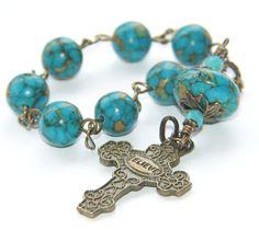 Christian Pocket Rosary Prayer Beads / Short Angllican Rosary, Turquoise & Brass