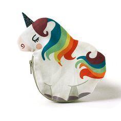 Unicorn Coin Purse Rainbow Cotton white by kaeselotti on Etsy