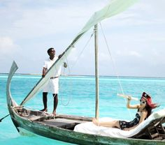 The best snorkeling & coral reefs in the world are in the Maldives Islands. La Carmina visits resort Gili Lankanfushi to explore the ocean life. Read about her diving, beach and pirate boat sailing: http://www.lacarmina.com/blog/2013/06/maldives-boating-snorkel-sailing-island-resorts-water-activities/    dhoni boat, maldives traditional fishing boats