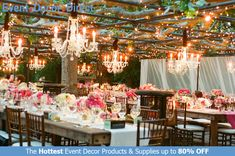 Event Decor Direct's Royal Queen Crystal Chandeliers are perfect for event designers that want to add some sparkle to their decor. The premium quality acrylic crystals keep them lightweight and affordable. We have many different styles, sizes and colors available. And most chandeliers ship free when your order totals $99 or more. Shop Now at EventDecorDirect.com Pink Wedding Receptions, Wedding Reception Tables, Reception Decorations, Event Decor, Wedding Events, Reception Ideas, Reception Layout, Patio Wedding, Reception Design