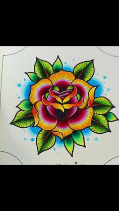 Traditional Flower Tattoo Flash colour style on point Girly Tattoos, Tattoos Skull, Body Art Tattoos, Sleeve Tattoos, Nautical Tattoos, Ship Tattoos, Arrow Tattoos, Word Tattoos, Small Tattoos