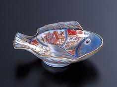 林九郎窯_染錦波兎魚型小付