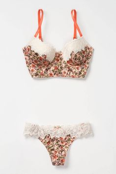 Lace-tipped and garden-printed, Eloise's longline bra and thong pairing epitomizes spring romance. Coral Blooms Bra - Anthropologie.com