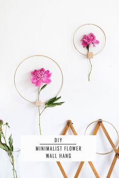 DIY Minimalist Flower Wall Hang by Ashley Rose of Sugar & Cloth, a top lifestyle blog in Houston, Texas #diy #modern #minimalist #wallhanging