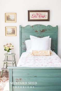 cottage bed reveal miss mustard seed Girls Bedroom, Girl Room, Budget Bedroom, Bedroom Ideas, Coastal Bedrooms, Shabby Chic Bedrooms, Mustard Bedding, Shabby Chic Vintage, Antique Beds