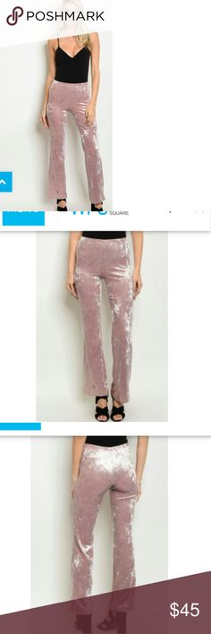 Coming soon gorgeous velvet pants These are gorgeous light pink velvet pants very in style they have a slight flare and they will be longer on somebody shorter I would assume the model in the picture is around 5:10 which is ideal for the pants to be a little bit longer with the flare it makes you look a lot taller with heels it lengthens the look of the leg what is a shorty got a lot of looks they are stunning La Femme chic Pants Boot Cut & Flare