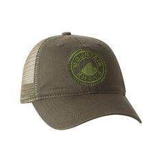 Mountain Khakis Trucker Cap - Pine (37 CAD) ❤ liked on Polyvore featuring accessories, hats, green, green trucker hat, cocktail hat, truck caps, mountain khakis and trucker hat