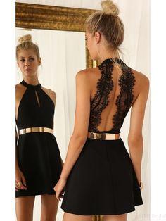 Black Homecoming Dress with Gold Sash Short Prom Dress Homecoming Dresses  #SIMIBridal #homecomingdresses