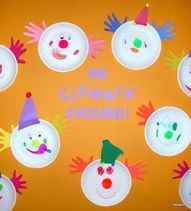 Oh I love it! Make a clown with handprints for hair, triangle for hat, and a face on a paper plate.