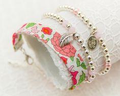 Liberty Silver Bracelet Trio - Danjo Pale Pink