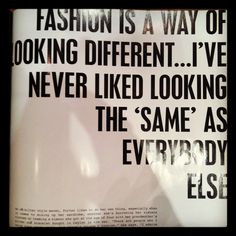 be yourself and with my taste in fashion you will accomplish just that ...being different