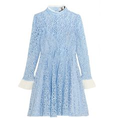 Topshop Unique Taplow guipure lace mini dress (455 CAD) ❤ liked on Polyvore featuring dresses, blue, summer dresses, lace slip, lace dress, blue summer dress and see through dress