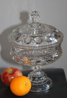 Vintage EAPG Adams Glass KINGS CROWN Covered Compote