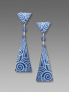 Adajio Earrings - Indigo Triangles Post and Drop with Light Blue Art Deco Pattern