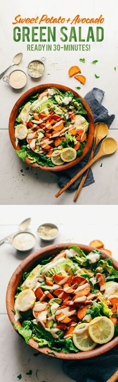 HEALTHY Green Salad with Sweet Potatoes, Avo, and Tahini Dressing! 30 min, 9 ing, SO delicious! #vegan #glutenfree #plantbased #salad #recipe #minimalistbaker