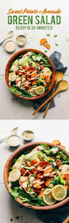 Sweet Potato Salad with avocado and tahini dressing! 30 min, 9 ing, SO delicious!HEALTHY Sweet Potato Salad with avocado and tahini dressing! 30 min, 9 ing, SO delicious! Tahini Dressing, Baker Recipes, Whole Food Recipes, Salad With Sweet Potato, Potato Salad, Healthy Salads, Healthy Eating, Feta Salat, Vegetarian Recipes