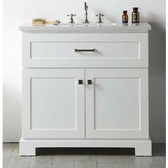 Legion Furniture White Wood Quartz Top 36-inch Sink Vanity without Faucet | Overstock.com Shopping - The Best Deals on Bathroom Vanities