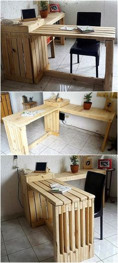 Here is an idea for the person who works online at home; you can see a huge table which is not occupying much space because it is created wisely to set near the wall. There is enough space on it to place the important documents as well as the desktop computer.