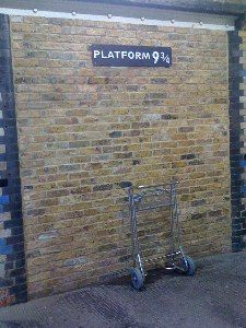 Harry Potter - Platform 9 and Three Quarters at Kings Cross Station in London! AWESOME. Been here and the funny part is it is just a wall in the station.