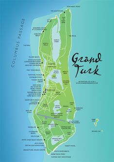 A map of Grand Turk in the Turks and Caicos Islands