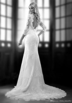 Wholesale Mermaid Wedding Dresses - Buy 2014 Vintage Sweetheart Mermaid Backless Lace Beaded Wedding Dresses 3/4 Long Sleeves Chapel Train B...  Board : https://www.pinterest.com/wellyphoto/