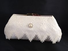 Ivory Lace and Satin Bridal Clutch Purse with Nickel/Silver Finish Snap Close Frame on Etsy, $30.00