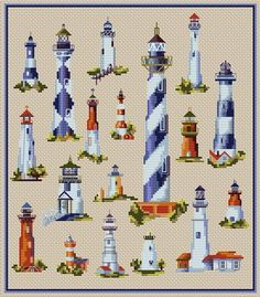 Lighthouses. This pattern is from a site that has really easy to download embroidery patterns for free.                                                  It's http://cross-stitchers-club.com/?code_avantage=uucqid. 