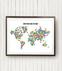Oh the places you ll go poster world map poster lego map printable world map poster in tetris pieces original colors cool world map a2 size personalized with hometown tetris world map vintage game wall map gumiabroncs Choice Image