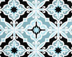 Art Deco Blue & Black Home Decor Fabric by the Yard, Designer Drapery or Upholstery Yardage, Cotton Pillow or Craft Fabric, Mosaic Fabric