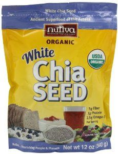 Nutiva Organic Chia Seeds, White, 12-Ounce by Nutiva. $9.99. Add Chia seeds to sauces as a thickener and to muffins and cakes as an egg replacement. Rich source of essential Omega-3 fatty acids, protein, antioxidants and fiber. Chia seeds absorb 9-12 times their weight in water. Include Chia seeds in yogurt and oatmeal or in smoothies. Versatile, use in recipes both savory and sweet. Chia seeds are a superfood packed with fiber, protein, omega-3 fatty acids, and antioxidants.