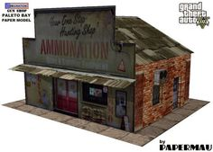 PAPERMAU: GTA V - Ammu-Nation Gun Shop Paper Model - Version II by Papermau - Download Now!