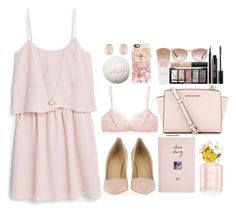 """Baby pink"" by melaniemodefr ❤ liked on Polyvore featuring MANGO, Eberjey, ASOS, Minor Obsessions, Marc Jacobs, Casetify, Giuseppe Zanotti, MICHAEL Michael Kors, Kenneth Jay Lane and women's clothing"