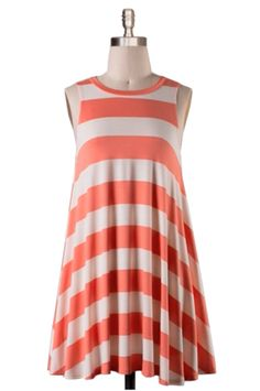 Melancholy Baby Coral Striped Tunic
