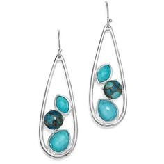 Ippolita Sterling Silver Rock Candy Mixed Turquoise and Doublet Long... ($795) ❤ liked on Polyvore featuring jewelry, earrings, sterling silver turquoise earrings, blue turquoise jewelry, sterling silver dangle earrings, sterling silver turquoise jewelry and dangle earrings