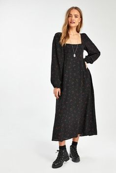 Buy Free People Black Ditsy Floral Midi Dress from the Next UK online shop Ditsy Floral, Floral Midi Dress, Black Midi Dress, Next Uk, Uk Online, Free People, Cold Shoulder Dress, Chic, Stuff To Buy