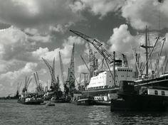 Amsterdamse wateren en havens : Overzicht over een gedeelte van de havens, met grote zeeschepen aan de kade en een aantal hoge hijskranen die daar bovenuit steken. Een paar binnenvaartschepen is aan het laden en lossen. Nederland, 7 oktober 1974.