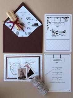Partes, tarjetas o invitaciones de boda muy originales, creadas por Araceli Peñalba    Pretty original wedding invitation cards, created by Araceli Peñalba