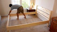 Diy Como hacer una cama de dos plazas de madera pino fácil de hacer Bed Frame Plans, Diy Bed Frame, Studio Apartment Organization, Bedroom Furniture Inspiration, Wood Bed Design, Bed Dimensions, Wood Beds, Rustic Furniture, Girl Room