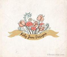 Premade Logo - OOAK Flowers Tulips Toadstool Vintage Banner Garden Roses Fern Whimsical Alice. $95.00, via Etsy.