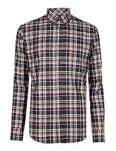 Mulberry 2in Longer Pure Cotton Thermal Flannel Ombre Checked Shirt