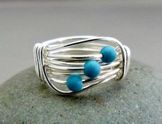 Little Blue Stone Signature Design Wire Wrapped Ring