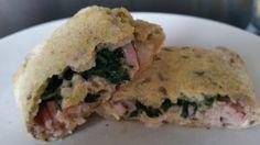 Lækkert madbrød bagt at glutenfri universalbrødmix fra Urtekram. Fyldet i brødet er spinat, skinke og lagret ost