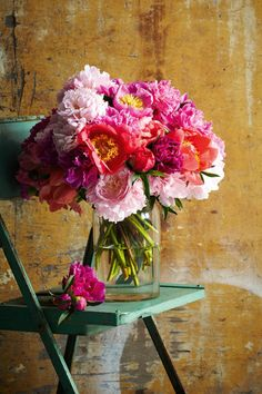 Peonies in a French vase from Izzi & Popo. Chair from Scarlet Jones.