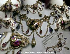 Amethyst Purple Champagne Crystal Pearl Choker Necklace Steampunk Jewellery Vintage Victorian Bridal Style By Titanic Temptations