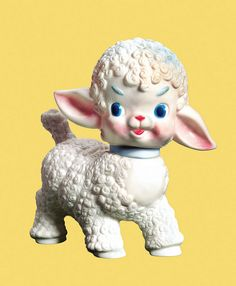 Animal Color Colored Background Cute Easter Emotion Farm Animal Fluffy Happy Holiday Lamb No People Plastic Plastock Sheep Toy Vintage White Yellow Background Young Kitsch, Kewpie, Retro Toys, Designer Toys, Vintage Dolls, Vintage Stuff, Old Toys, Oeuvre D'art, Wall Collage