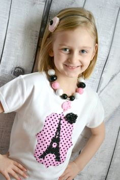 Girls Eiffel Tower Paris Shirt in Black by SweetThreadsClothing Paris Shirt, Paris Party, Paris Eiffel Tower, Pink Polka Dots, Kids Clothing, Giveaways, Paris Fashion, Baby Shop, Little Girls