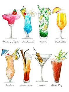Classic Summer Cocktails Watercolor Art - Print. A series of our favourite classic summer cocktails - This composition is part of my Summer Cocktail Series, Happy Hour. AVAILABLE SIZES: 5 x7 inches 8x10 inches 12x16inches 16x20 inches Prints are sold unframed. It is shown for visualization purposes only. This is a reproduction print of an original pen and watercolour painting. ABOUT THE PRINTS: Professional quality giclee print on Hahnemuhle-photorag paper with archival pigment inks. ...