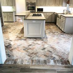 Brick Tiles Kitchen, Brick Tile Floor, Brick Flooring, Kitchen Redo, Kitchen Flooring, Kitchen Remodel, Kitchen With Brick Floor, Flooring Ideas, White Wash Brick